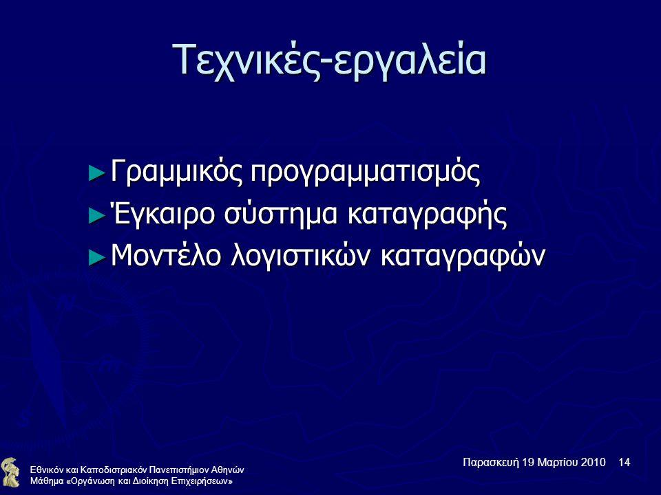 Παρασκευή 19 Μαρτίου 2010 14 Εθνικόν και Καποδιστριακόν Πανεπιστήμιον Αθηνών Μάθημα «Οργάνωση και Διοίκηση Επιχειρήσεων» Τεχνικές-εργαλεία ► Γραμμικός προγραμματισμός ► Έγκαιρο σύστημα καταγραφής ► Μοντέλο λογιστικών καταγραφών