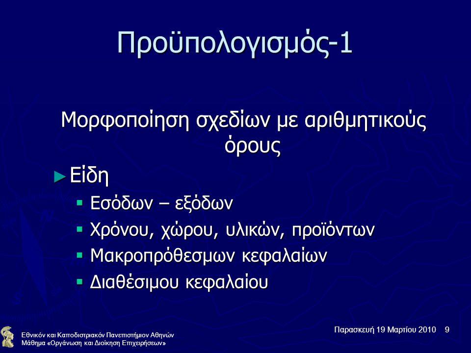 Παρασκευή 19 Μαρτίου 2010 9 Εθνικόν και Καποδιστριακόν Πανεπιστήμιον Αθηνών Μάθημα «Οργάνωση και Διοίκηση Επιχειρήσεων» Προϋπολογισμός-1 Μορφοποίηση σχεδίων με αριθμητικούς όρους ► Είδη  Εσόδων – εξόδων  Χρόνου, χώρου, υλικών, προϊόντων  Μακροπρόθεσμων κεφαλαίων  Διαθέσιμου κεφαλαίου