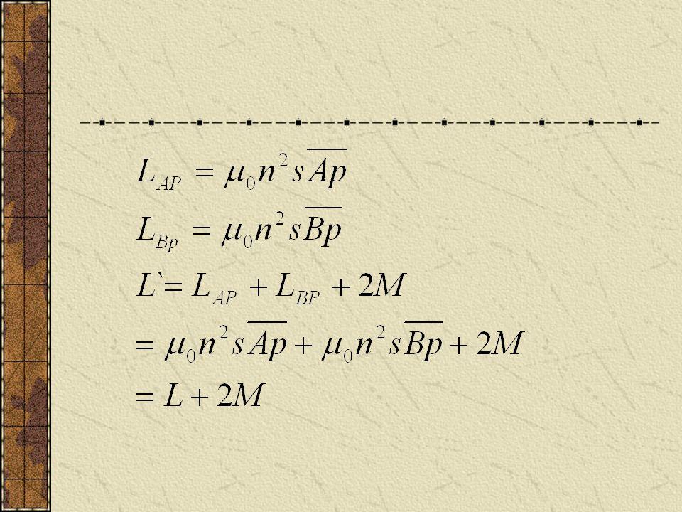 K 为耦合系数。若有铁芯, AP , PB 应耦合 的很好。即便没有铁芯,两螺线管靠的如 此之近, M 不应为零。则 直观上理解,这是同一个螺线管应有 L`=L 。 这便出现了矛盾。