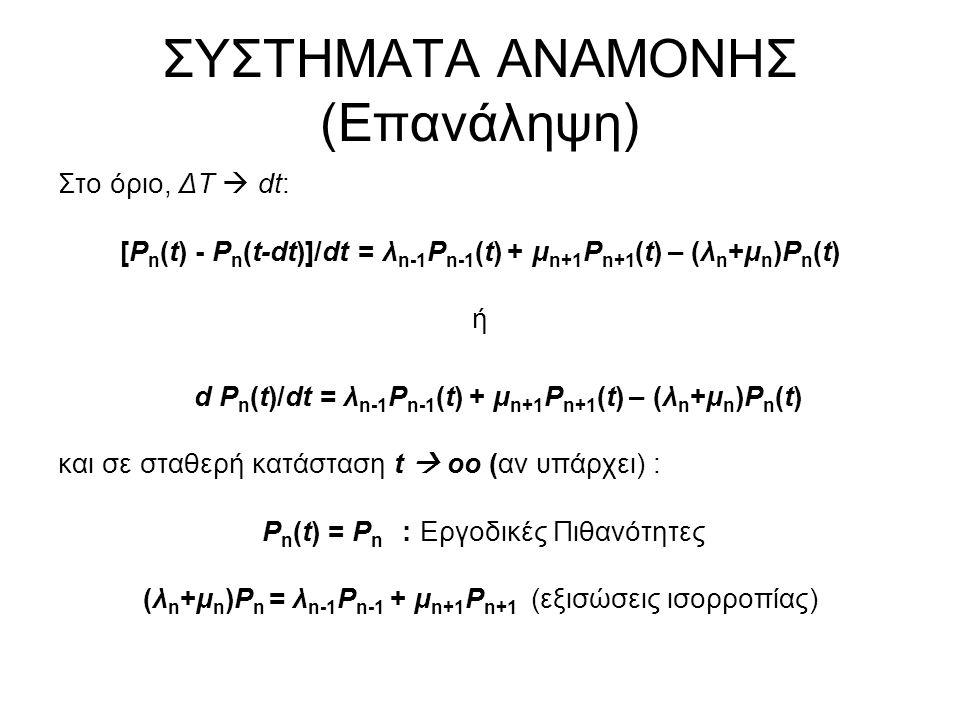 ΣΥΣΤΗΜΑΤΑ ΑΝΑΜΟΝΗΣ (Επανάληψη) Στο όριο, ΔΤ  dt: [P n (t) - P n (t-dt)]/dt = λ n-1 P n-1 (t) + μ n+1 P n+1 (t) – (λ n +μ n )P n (t) ή d P n (t)/dt = λ n-1 P n-1 (t) + μ n+1 P n+1 (t) – (λ n +μ n )P n (t) και σε σταθερή κατάσταση t  οο (αν υπάρχει) : P n (t) = P n : Εργοδικές Πιθανότητες (λ n +μ n )P n = λ n-1 P n-1 + μ n+1 P n+1 (εξισώσεις ισορροπίας)