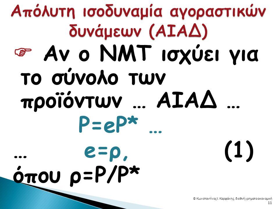  Αν ο ΝΜΤ ισχύει για το σύνολο των προϊόντων … ΑΙΑΔ … P=eP* … … e=ρ, (1) όπου ρ=P/P* © Κωνσταντίνος Ι.
