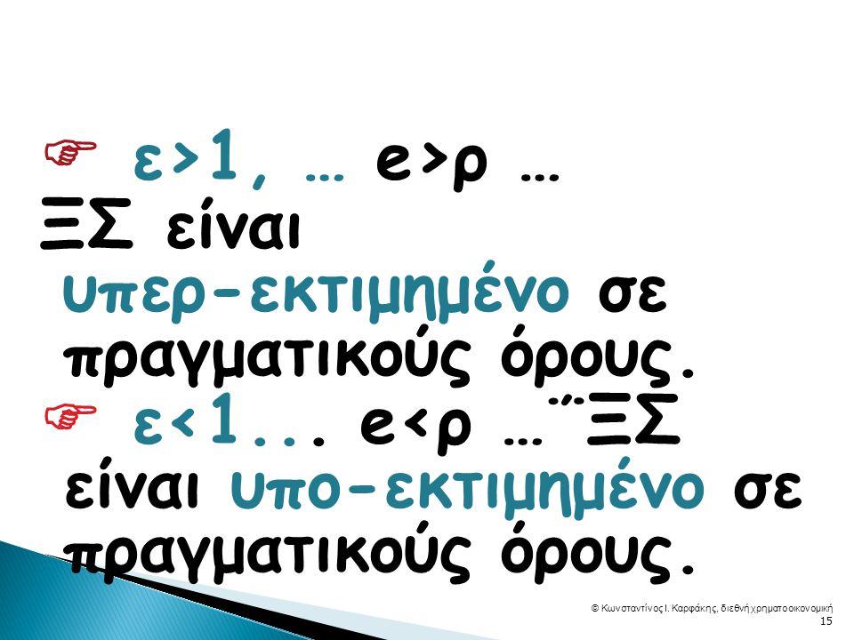  ε>1, … e>ρ … ΞΣ είναι υπερ- εκτιμημένο σε πραγματικούς όρους.