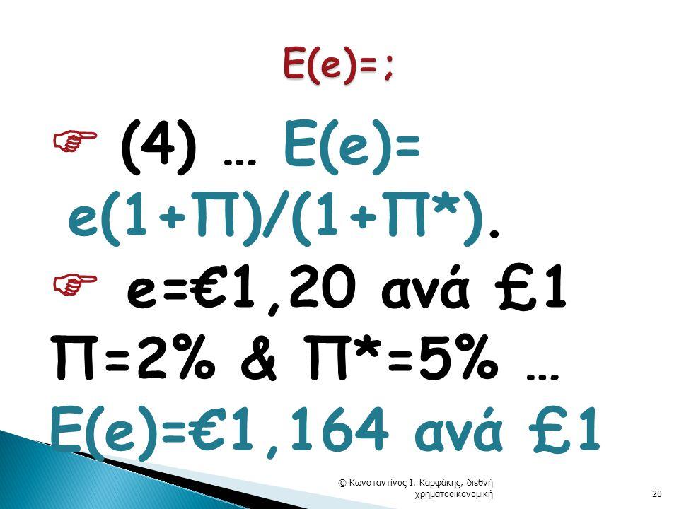  (4) … E(e)= e(1+Π)/(1+Π*). e=€1,20 ανά £1 Π=2% & Π*=5% … Ε(e)=€1,164 ανά £1 © Κωνσταντίνος Ι.