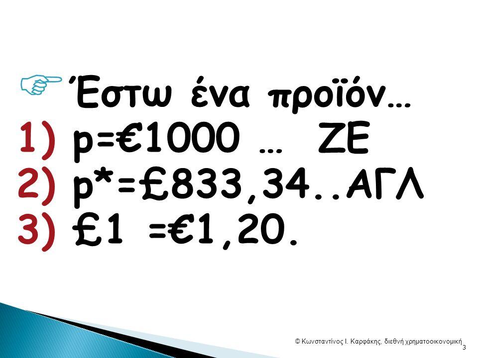  Έστω ένα προϊόν… 1) p=€1000 … ZE 2) p*=£833,34..AΓΛ 3) £1 =€1,20.