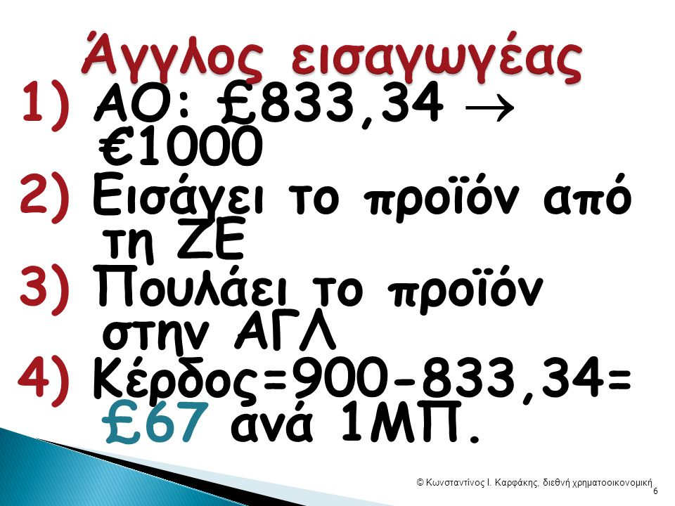  67/833=8%, … η απόδοση ανά 1ΜΠ © Κωνσταντίνος Ι. Καρφάκης, διεθνή χρηματοοικονομική 7