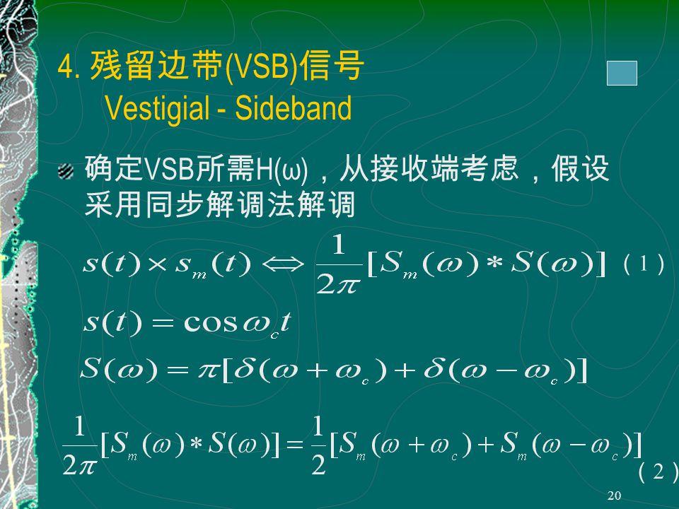 19 为 f ( t )的希尔伯特变换, 的希 尔伯特变换等于 - f ( t ) 性质 1. f ( t )与 在整个时域内正交 2.