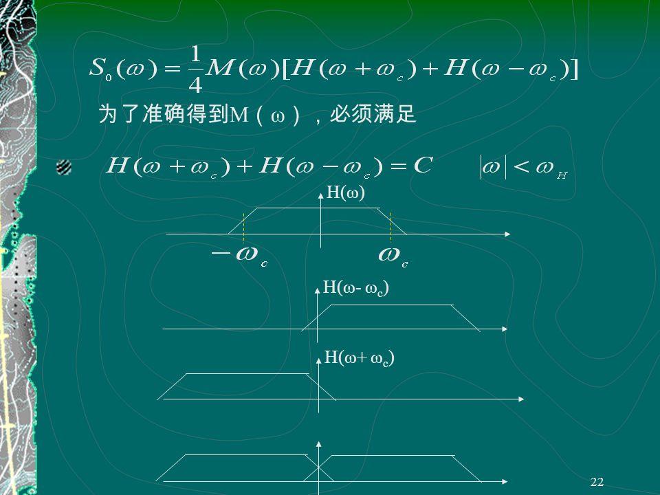 21 (3)(3) ( 3 )带入( 2 )得 ×H(t) 低通滤波器 Sm(t)Sm(t) COSω c t m(t)m(t) 低通滤除