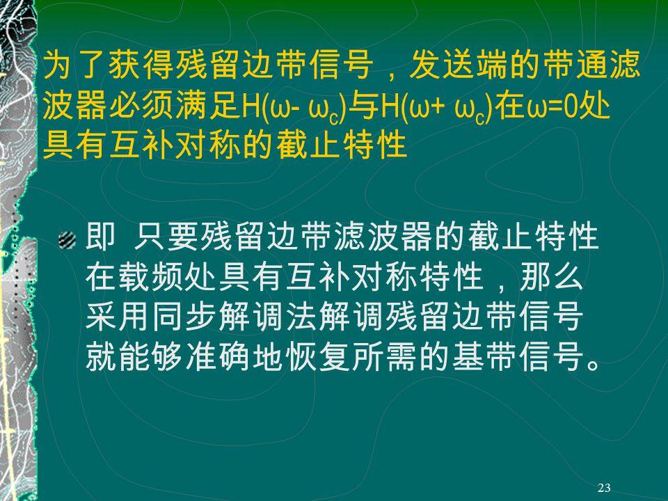 22 为了准确得到 M ( ω ),必须满足 H(ω) H(ω- ω c ) H(ω+ ω c )