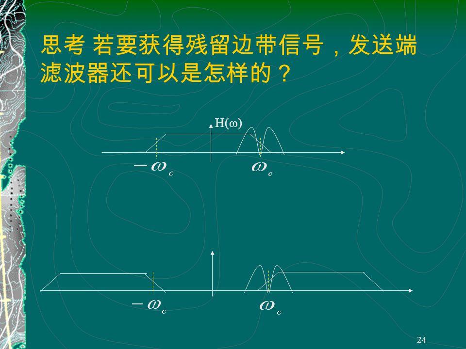 23 为了获得残留边带信号,发送端的带通滤 波器必须满足 H(ω- ω c ) 与 H(ω+ ω c ) 在 ω=0 处 具有互补对称的截止特性 即 只要残留边带滤波器的截止特性 在载频处具有互补对称特性,那么 采用同步解调法解调残留边带信号 就能够准确地恢复所需的基带信号。