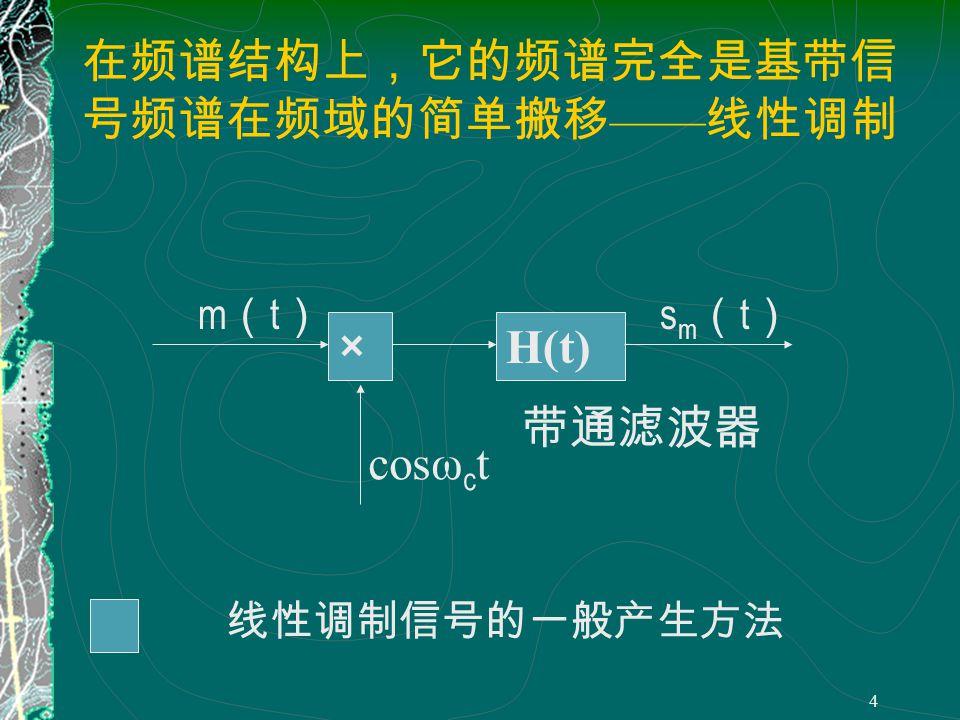 3 4.2 幅度调制 原理 载波 已调信号 m(t) 调制信号 ( 基带信号 ) 设 则