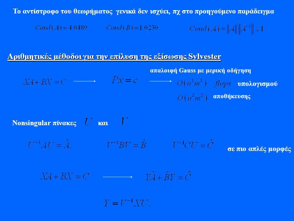 Το αντίστροφο του θεωρήματος γενικά δεν ισχύει, πχ στο προηγούμενο παράδειγμα Αριθμητικές μέθοδοι για την επίλυση της εξίσωσης Sylvester απαλοιφή Gaus