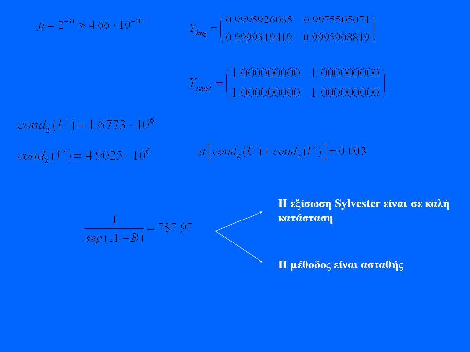 Η εξίσωση Sylvester είναι σε καλή κατάσταση Η μέθοδος είναι ασταθής
