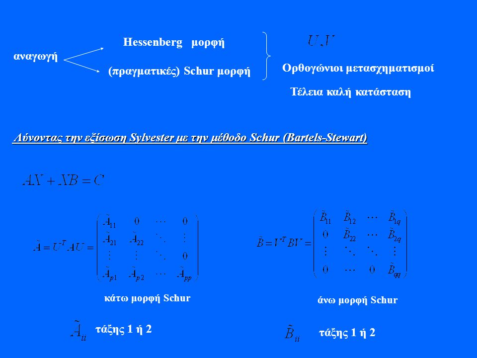 Hessenberg μορφή (πραγματικές) Schur μορφή αναγωγή Ορθογώνιοι μετασχηματισμοί Τέλεια καλή κατάσταση Λύνοντας την εξίσωση Sylvester με την μέθοδο Schur
