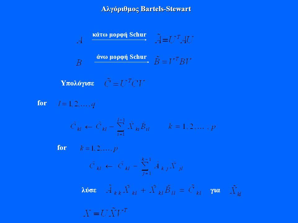 Αλγόριθμος Bartels-Stewart κάτω μορφή Schur άνω μορφή Schur Υπολόγισε for λύσεγια