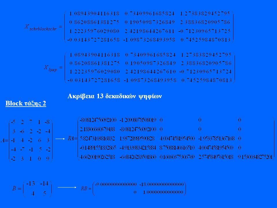 Ακρίβεια 13 δεκαδικών ψηφίων Block τάξης 2
