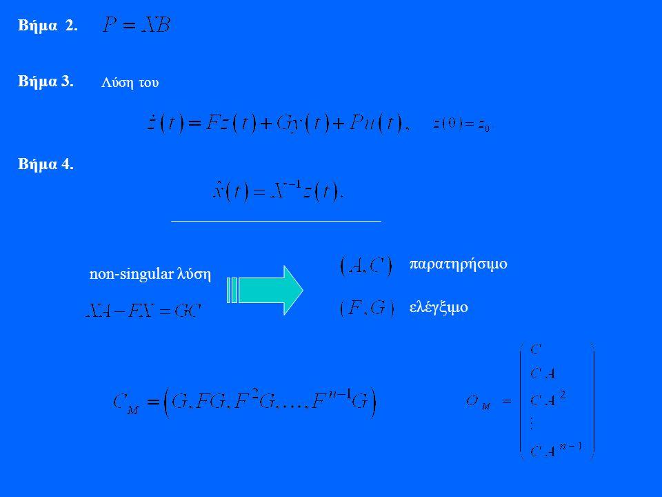 Βήμα 2. Βήμα 3. Λύση του Βήμα 4. non-singular λύση παρατηρήσιμο ελέγξιμο