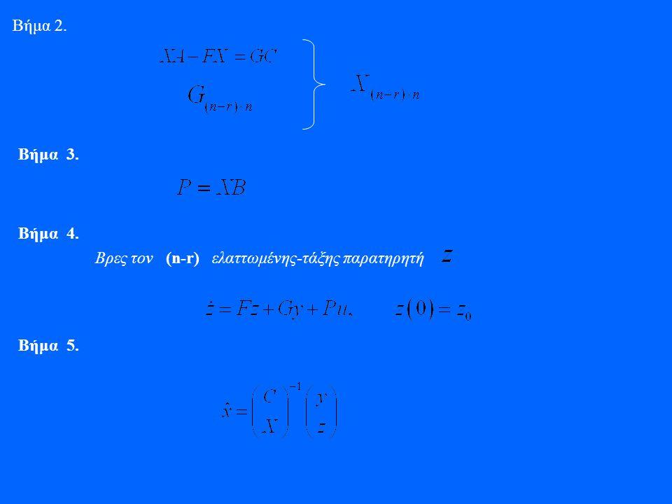 Βήμα 2. Βήμα 3. Βρες τον (n-r) ελαττωμένης-τάξης παρατηρητή Βήμα 4. Βήμα 5.