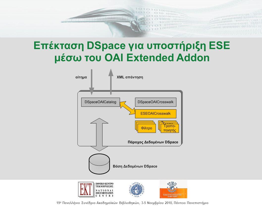 images/Header.jpg 19 ο Πανελλήνιο Συνέδριο Ακαδημαϊκών Βιβλιοθηκών, 3-5 Νοεμβρίου 2010, Πάντειο Πανεπιστήμιο Επέκταση DSpace για υποστήριξη ESE μέσω του OAI Extended Addon