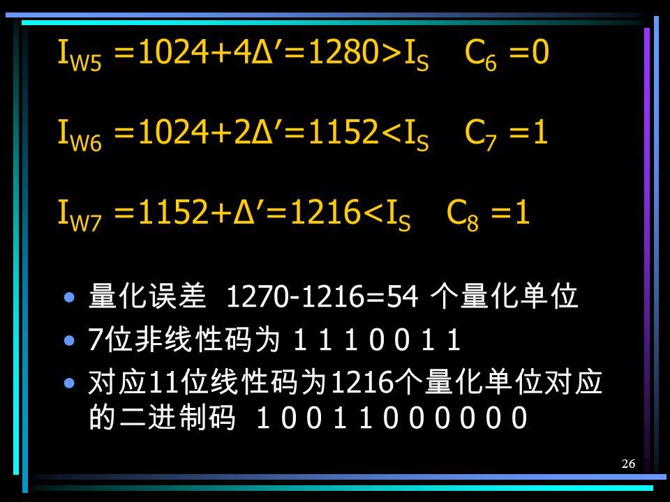 25 例:设输入信号抽样值为 +1270 个量化单 位,采用逐次比较型编码将它按照 13 折线 A 律特性编码 8 位码。 确定极性码 C 1 抽样值为正, C 1 = 1 确定段落码 C 2 C 3 C 4 I s > I W1 =128 C 2 =1 I s > I W2 =512 C 3 =1