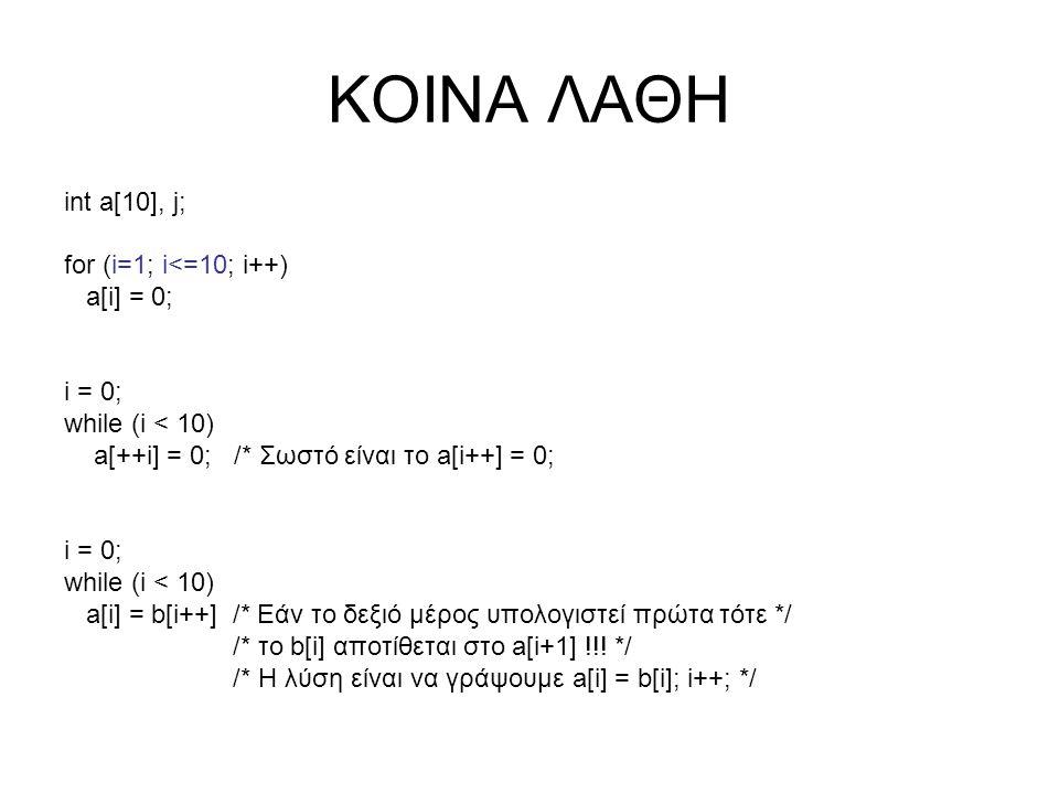 ΚΟΙΝΑ ΛΑΘΗ int a[10], j; for (i=1; i<=10; i++) a[i] = 0; i = 0; while (i < 10) a[++i] = 0; /* Σωστό είναι το a[i++] = 0; i = 0; while (i < 10) a[i] =