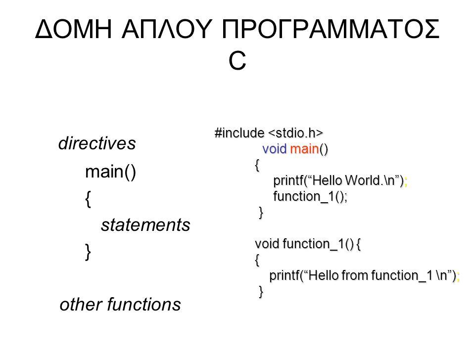 """ΔΟΜΗ ΑΠΛΟΥ ΠΡΟΓΡΑΜΜΑΤΟΣ C directives main() { statements } other functions #include #include void main() { printf(""""Hello World.\n""""); printf(""""Hello Wor"""