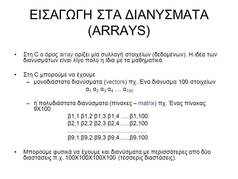 ΧΑΡΑΚΤΗΡΙΣΤΙΚΑ ΔΙΑΝΥΣΜΑΤΩΝ Τα χαρακτηριστικά γνωρίσματα ενός διανύσματος είναι: –Ο τύπος όλων των στοιχείων του (ο ίδιος τύπος δεδομένων για όλα τα στοιχεία του διανύσματος) –Ο αριθμός των διαστάσεων του –Το «μήκος» κάθε διάστασης