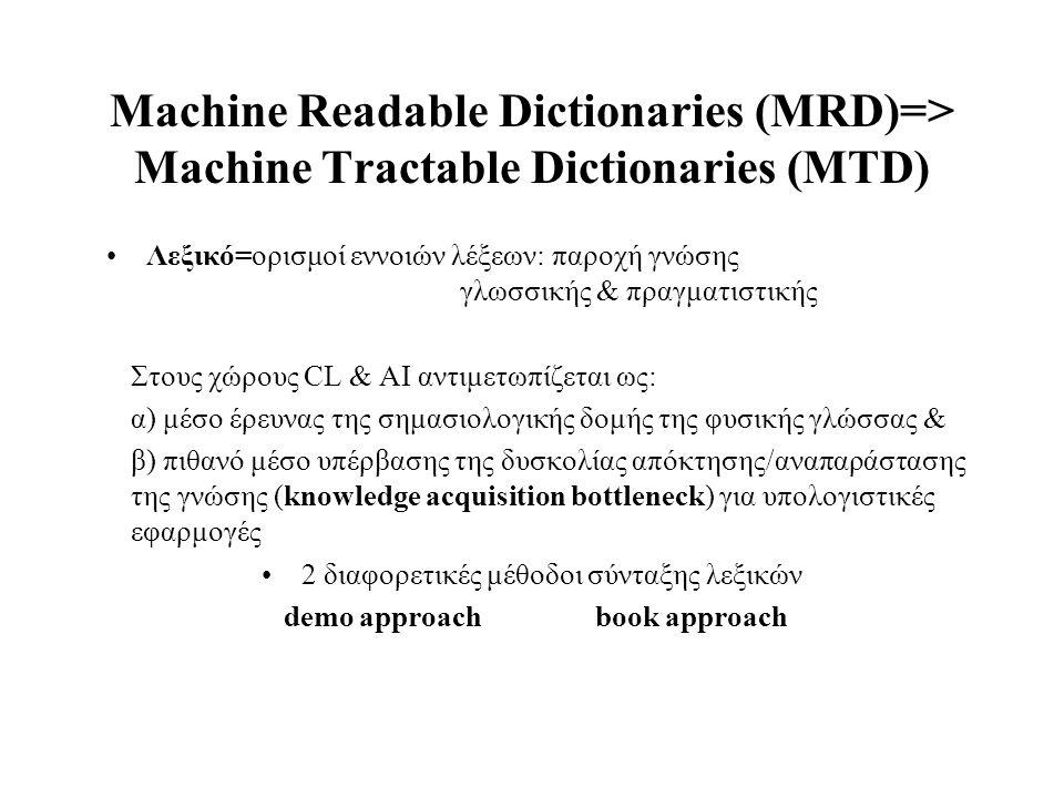 Machine Readable Dictionaries (MRD)=> Machine Tractable Dictionaries (MTD) Λεξικό=ορισμοί εννοιών λέξεων: παροχή γνώσης γλωσσικής & πραγματιστικής Στο