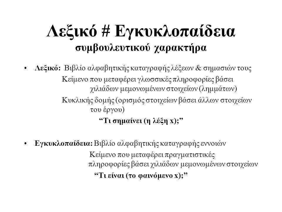Λεξικό # Εγκυκλοπαίδεια συμβουλευτικού χαρακτήρα Λεξικό: Βιβλίο αλφαβητικής καταγραφής λέξεων & σημασιών τους Κείμενο που μεταφέρει γλωσσικές πληροφορ