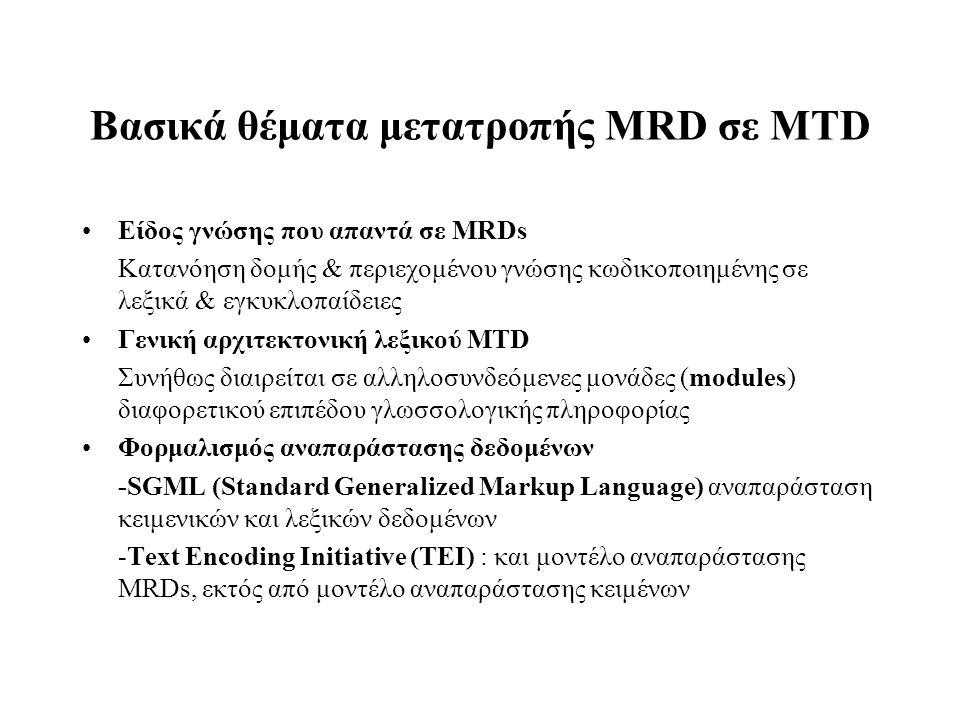 Βασικά θέματα μετατροπής MRD σε MTD Είδος γνώσης που απαντά σε MRDs Κατανόηση δομής & περιεχομένου γνώσης κωδικοποιημένης σε λεξικά & εγκυκλοπαίδειες