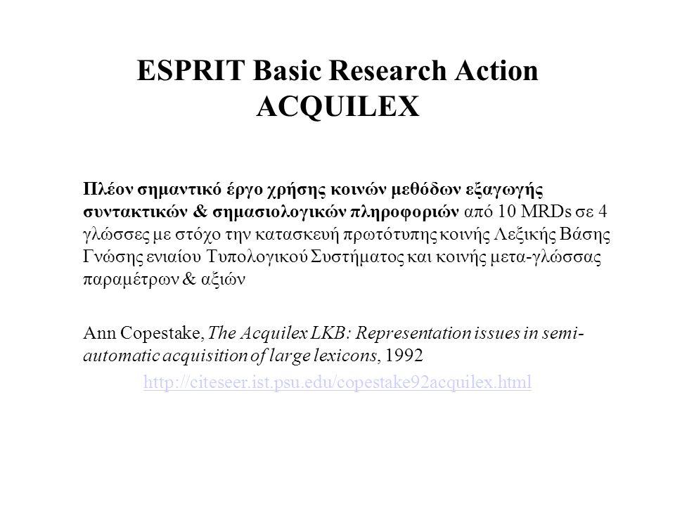 ESPRIT Basic Research Action ACQUILEX Πλέον σημαντικό έργο χρήσης κοινών μεθόδων εξαγωγής συντακτικών & σημασιολογικών πληροφοριών από 10 MRDs σε 4 γλ