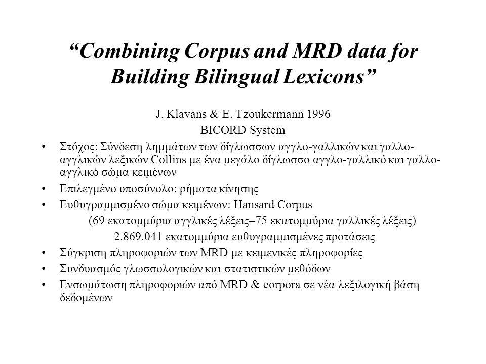 """""""Combining Corpus and MRD data for Building Bilingual Lexicons"""" J. Klavans & E. Tzoukermann 1996 BICORD System Στόχος: Σύνδεση λημμάτων των δίγλωσσων"""