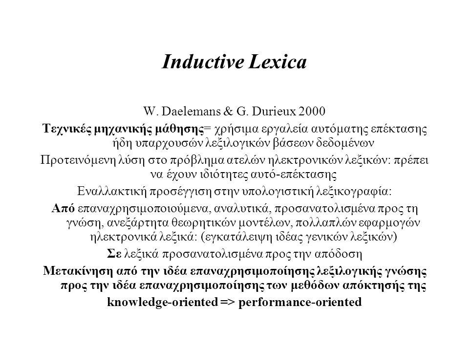 Inductive Lexica W. Daelemans & G. Durieux 2000 Τεχνικές μηχανικής μάθησης= χρήσιμα εργαλεία αυτόματης επέκτασης ήδη υπαρχουσών λεξιλογικών βάσεων δεδ