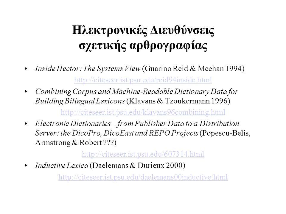 Ηλεκτρονικές Διευθύνσεις σχετικής αρθρογραφίας Inside Hector: The Systems View (Guarino Reid & Meehan 1994) http://citeseer.ist.psu.edu/reid94inside.h