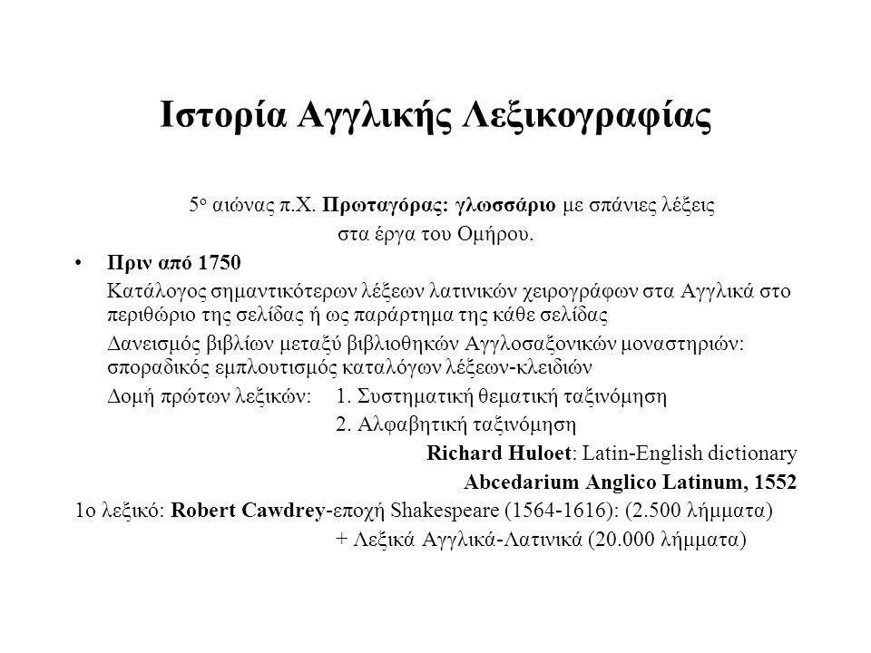 Ιστορία Aγγλικής Λεξικογραφίας 5 ο αιώνας π.Χ. Πρωταγόρας: γλωσσάριο με σπάνιες λέξεις στα έργα του Ομήρου. Πριν από 1750 Κατάλογος σημαντικότερων λέξ