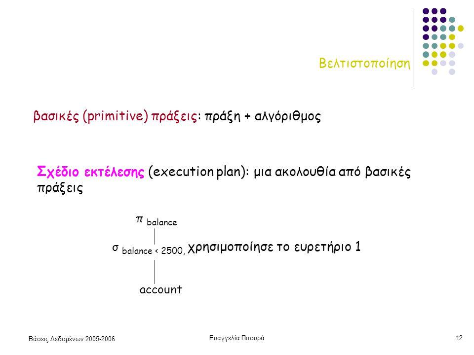 Βάσεις Δεδομένων 2005-2006 Ευαγγελία Πιτουρά12 Βελτιστοποίηση βασικές (primitive) πράξεις: πράξη + αλγόριθμος Σχέδιο εκτέλεσης (execution plan): μια ακολουθία από βασικές πράξεις π balance σ balance < 2500, χρησιμοποίησε το ευρετήριο 1 account