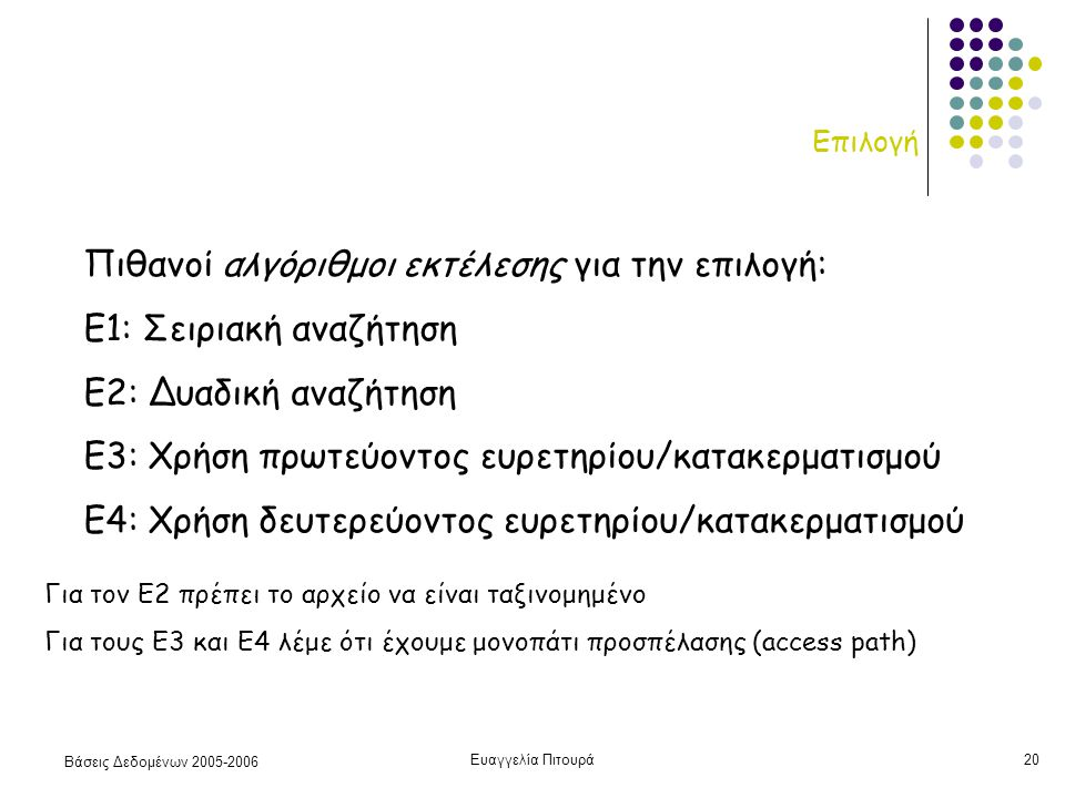 Βάσεις Δεδομένων 2005-2006 Ευαγγελία Πιτουρά20 Επιλογή Πιθανοί αλγόριθμοι εκτέλεσης για την επιλογή: Ε1: Σειριακή αναζήτηση Ε2: Δυαδική αναζήτηση Ε3: Χρήση πρωτεύοντος ευρετηρίου/κατακερματισμού Ε4: Χρήση δευτερεύοντος ευρετηρίου/κατακερματισμού Για τον Ε2 πρέπει το αρχείο να είναι ταξινομημένο Για τους Ε3 και Ε4 λέμε ότι έχουμε μονοπάτι προσπέλασης (access path)