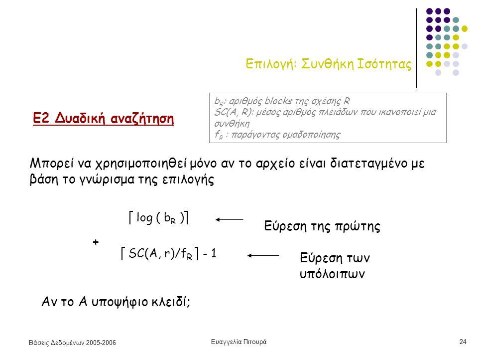 Βάσεις Δεδομένων 2005-2006 Ευαγγελία Πιτουρά24 Επιλογή: Συνθήκη Ισότητας Ε2 Δυαδική αναζήτηση Μπορεί να χρησιμοποιηθεί μόνο αν το αρχείο είναι διατεταγμένο με βάση το γνώρισμα της επιλογής  log ( b R )  Εύρεση της πρώτης  SC(A, r)/f R  - 1 Εύρεση των υπόλοιπων + Αν το Α υποψήφιο κλειδί; b R : αριθμός blocks της σχέσης R SC(A, R): μέσος αριθμός πλειάδων που ικανοποιεί μια συνθήκη f R : παράγοντας ομαδοποίησης