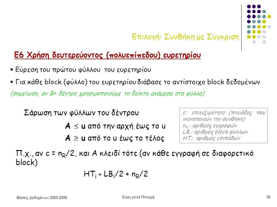 Βάσεις Δεδομένων 2005-2006 Ευαγγελία Πιτουρά30 Επιλογή: Συνθήκη με Σύγκριση Ε6 Χρήση δευτερεύοντος (πολυεπίπεδου) ευρετηρίου Α  u από το u έως το τέλος Α  u από την αρχή έως το u Σάρωση των φύλλων του δέντρου Π.χ., αν c = n R /2, και Α κλειδί τότε (αν κάθε εγγραφή σε διαφορετικό block) HT i + LB i /2 + n R /2 c: επιλεξιμότητα (πλειάδες που ικανοποιούν την συνθήκη) n R : αριθμός εγγραφών LB i : αριθμός block φύλλων HT i : αριθμός επιπέδων  Εύρεση του πρώτου φύλλου του ευρετηρίου  Για κάθε block (φύλλο) του ευρετηρίου διάβασε το αντίστοιχο block δεδομένων (σημείωση, αν Β+ δέντρο χρησιμοποιούμε το δείκτη ανάμεσα στα φύλλα)