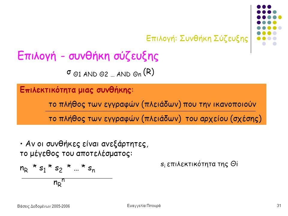 Βάσεις Δεδομένων 2005-2006 Ευαγγελία Πιτουρά31 Επιλογή: Συνθήκη Σύζευξης Επιλογή - συνθήκη σύζευξης Επιλεκτικότητα μιας συνθήκης: το πλήθος των εγγραφών (πλειάδων) που την ικανοποιούν το πλήθος των εγγραφών (πλειάδων) του αρχείου (σχέσης) σ Θ1 AND Θ2 … AND Θn (R) Αν οι συνθήκες είναι ανεξάρτητες, το μέγεθος του αποτελέσματος: n R * s 1 * s 2 * … * s n n R n s i επιλεκτικότητα της Θi