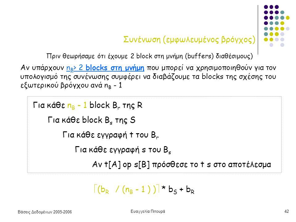 Βάσεις Δεδομένων 2005-2006 Ευαγγελία Πιτουρά42 Συνένωση (εμφωλευμένος βρόγχος) Για κάθε n B - 1 block B r της R Για κάθε block B s της S Για κάθε εγγραφή t του B r Για κάθε εγγραφή s του B s Αν t[A] op s[B] πρόσθεσε το t s στο αποτέλεσμα  (b R / (n B - 1 ) )  * b S + b R Αν υπάρχουν n B > 2 blocks στη μνήμη που μπορεί να χρησιμοποιηθούν για τον υπολογισμό της συνένωσης συμφέρει να διαβάζουμε τα blocks της σχέσης του εξωτερικού βρόγχου ανά n B - 1 Πριν θεωρήσαμε ότι έχουμε 2 block στη μνήμη (buffers) διαθέσιμους)