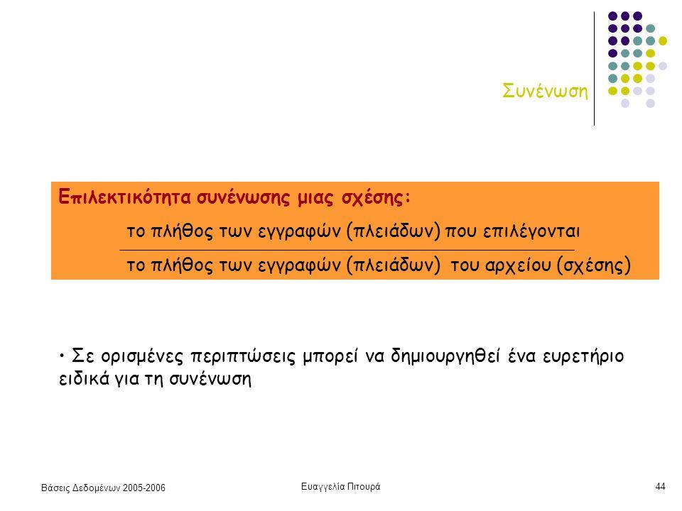Βάσεις Δεδομένων 2005-2006 Ευαγγελία Πιτουρά44 Συνένωση Επιλεκτικότητα συνένωσης μιας σχέσης: το πλήθος των εγγραφών (πλειάδων) που επιλέγονται το πλήθος των εγγραφών (πλειάδων) του αρχείου (σχέσης) Σε ορισμένες περιπτώσεις μπορεί να δημιουργηθεί ένα ευρετήριο ειδικά για τη συνένωση