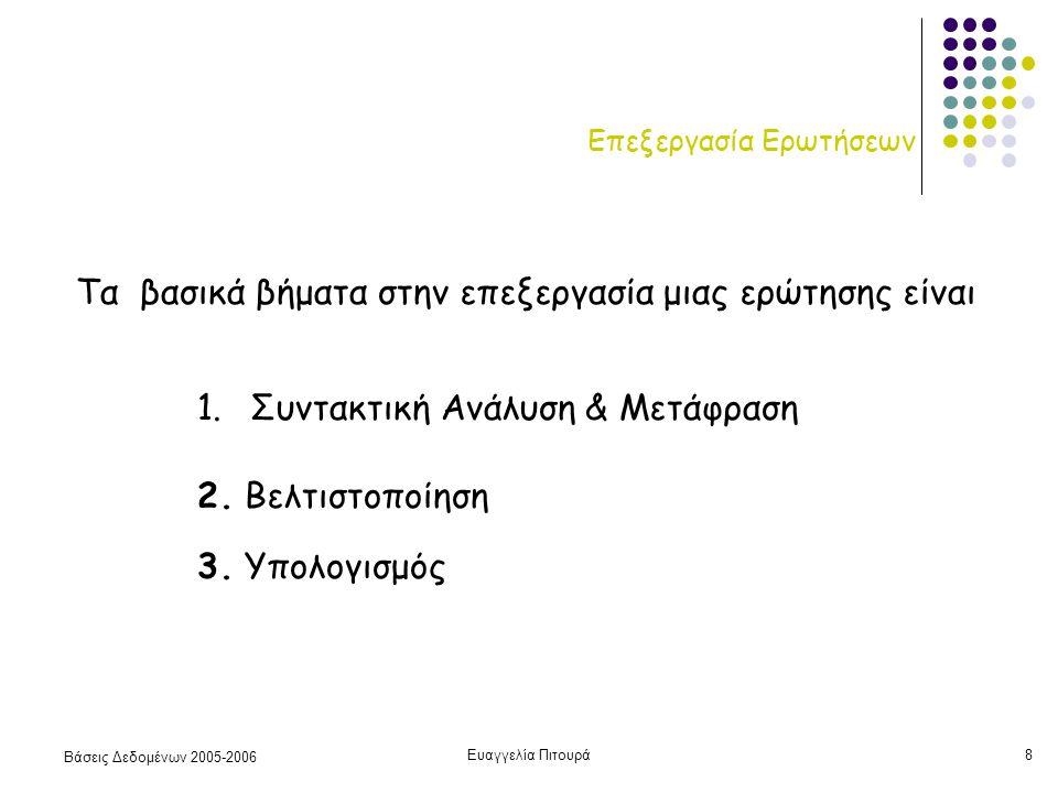 Βάσεις Δεδομένων 2005-2006 Ευαγγελία Πιτουρά8 Επεξεργασία Ερωτήσεων 1.Συντακτική Ανάλυση & Μετάφραση 2.