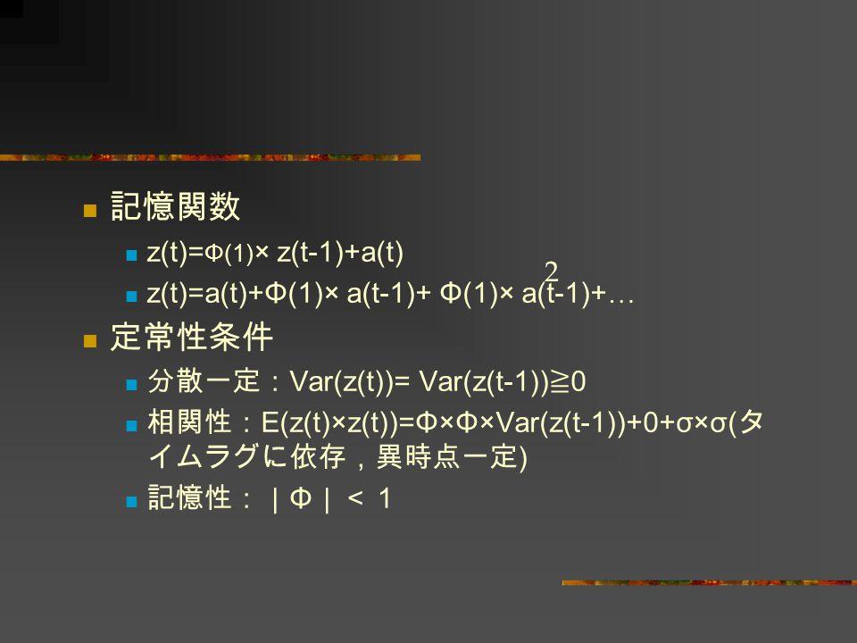 記憶関数 z(t)= Φ(1) × z(t-1)+a(t) z(t)=a(t)+Φ(1)× a(t-1)+ Φ(1)× a(t-1)+ … 定常性条件 分散一定: Var(z(t))= Var(z(t-1)) ≧ 0 相関性: E(z(t)×z(t))=Φ×Φ×Var(z(t-1))+0+σ×σ(