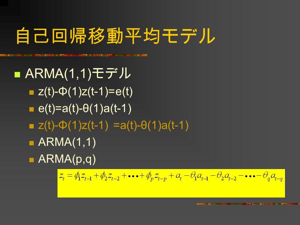 自己回帰移動平均モデル ARMA(1,1) モデル z(t)-Φ(1)z(t-1)=e(t) e(t)=a(t)-θ(1)a(t-1) z(t)-Φ(1)z(t-1) =a(t)-θ(1)a(t-1) ARMA(1,1) ARMA(p,q)