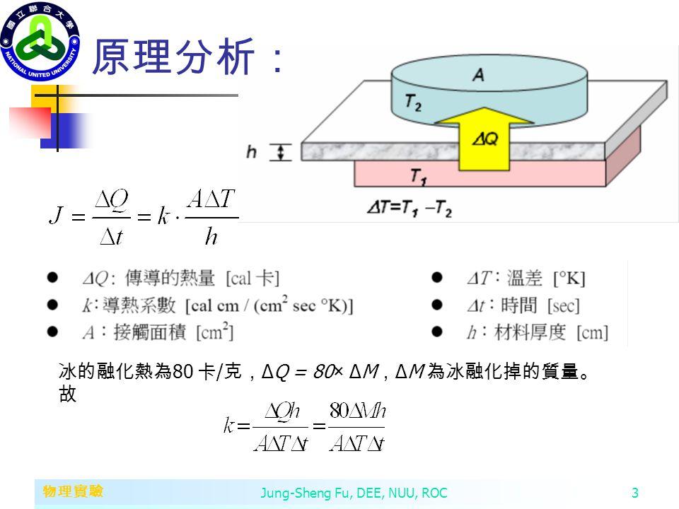 第二章 變數、常數、運算子和運算式 物理實驗 Jung-Sheng Fu, DEE, NUU, ROC3 原理分析: 冰的融化熱為 80 卡 / 克, ΔQ = 80× ΔM , ΔM 為冰融化掉的質量。 故