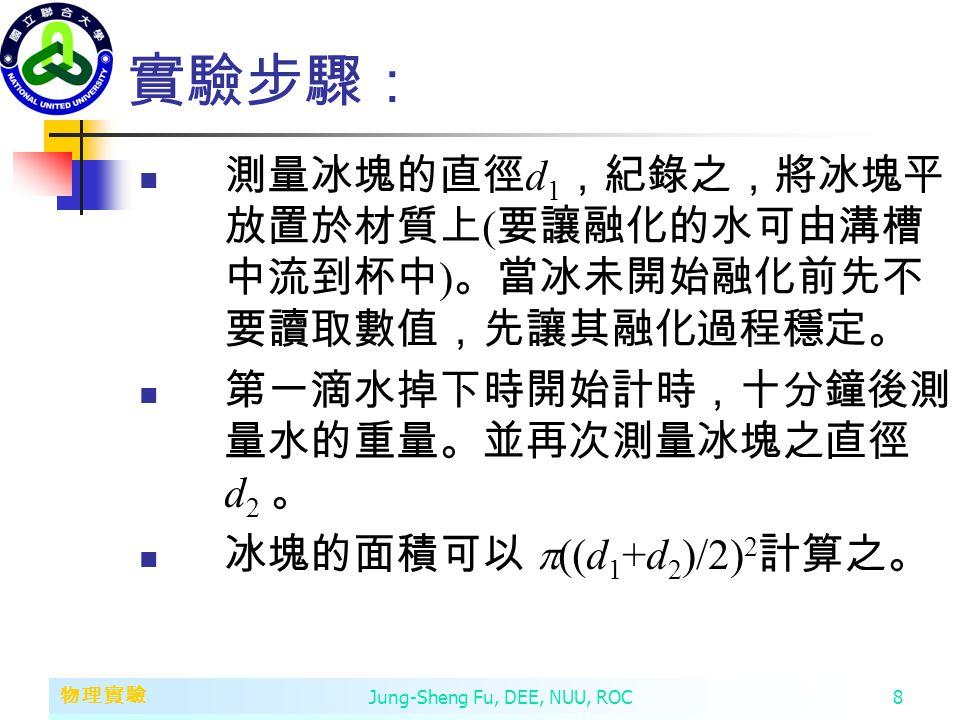第二章 變數、常數、運算子和運算式 物理實驗 Jung-Sheng Fu, DEE, NUU, ROC8 實驗步驟: 測量冰塊的直徑 d 1 ,紀錄之,將冰塊平 放置於材質上 ( 要讓融化的水可由溝槽 中流到杯中 ) 。當冰未開始融化前先不 要讀取數值,先讓其融化過程穩定。 第一滴水掉下時開始計時,