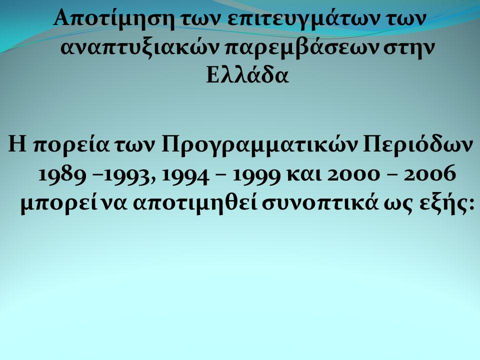 Αποτίμηση των επιτευγμάτων των αναπτυξιακών παρεμβάσεων στην Ελλάδα Η πορεία των Προγραμματικών Περιόδων 1989 –1993, 1994 – 1999 και 2000 – 2006 μπορεί να αποτιμηθεί συνοπτικά ως εξής:
