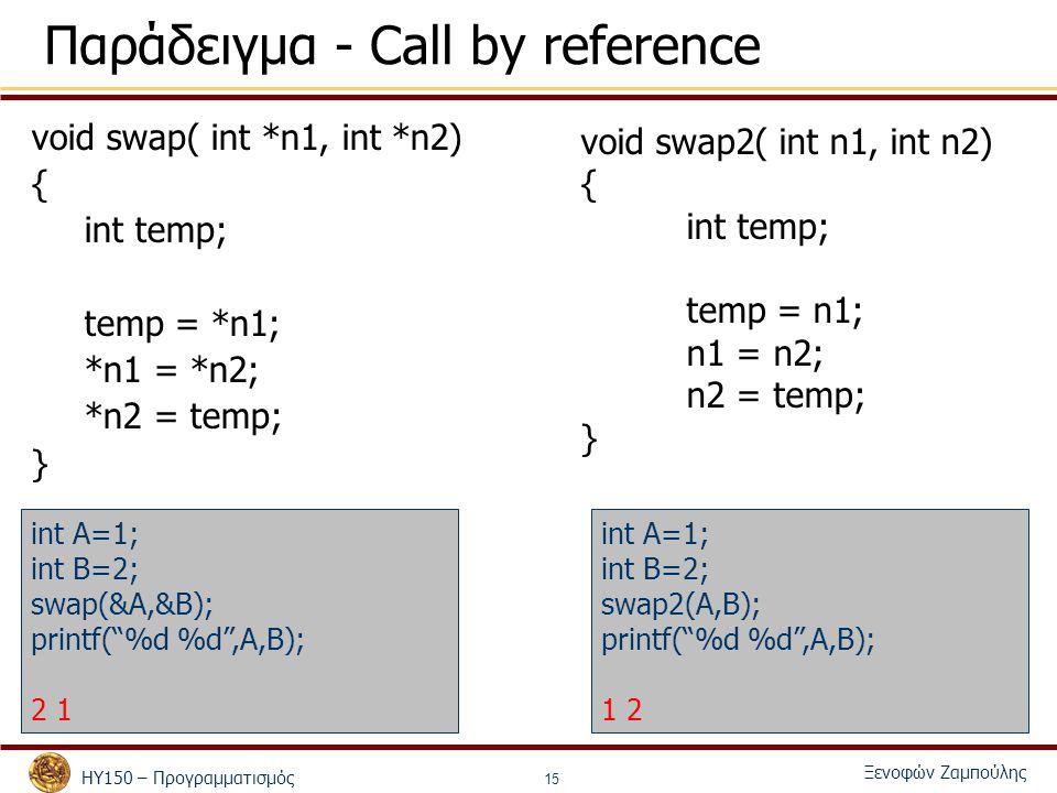 ΗΥ150 – Προγραμματισμός Ξενοφών Ζαμπούλης 15 Παράδειγμα - Call by reference void swap( int *n1, int *n2) { int temp; temp = *n1; *n1 = *n2; *n2 = temp; } int A=1; int B=2; swap(&A,&B); printf( %d %d ,A,B); 2 1 void swap2( int n1, int n2) { int temp; temp = n1; n1 = n2; n2 = temp; } int A=1; int B=2; swap2(A,B); printf( %d %d ,A,B); 1 2