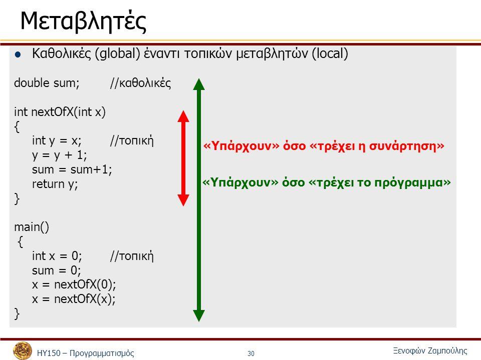 ΗΥ150 – Προγραμματισμός Ξενοφών Ζαμπούλης 30 Μεταβλητές Καθολικές (global) έναντι τοπικών μεταβλητών (local) double sum;//καθολικές int nextOfX(int x) { int y = x; //τοπική y = y + 1; sum = sum+1; return y; } main() { int x = 0; //τοπική sum = 0; x = nextOfX(0); x = nextOfX(x); } «Υπάρχουν» όσο «τρέχει το πρόγραμμα» «Υπάρχουν» όσο «τρέχει η συνάρτηση»
