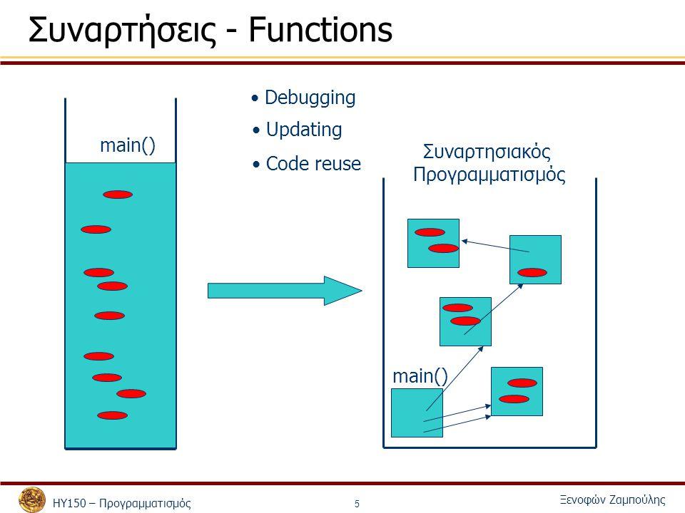ΗΥ150 – Προγραμματισμός Ξενοφών Ζαμπούλης 5 Συναρτήσεις - Functions main() Debugging Updating Code reuse Συναρτησιακός Προγραμματισμός